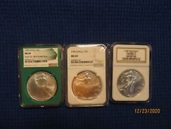 Ms69 Eagles Set Of Silver Eagles In Wooden Storage Box35 Coin Set 1986-2021