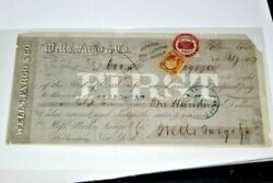 S254signed Wells Fargofirst Of Exchange Ca And Us Revenue Stamps 1867 Rare
