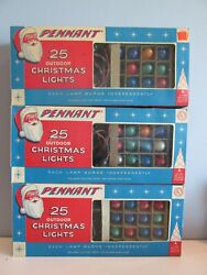 Lot Of 3 Boxes Vintage Pennant Outdoor Christmas Light Sets 25 Lights