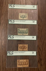1862 First Issue Us Fractional Currency 5, 10, 25 And 50-cent Notes 💯 Pcgs Set