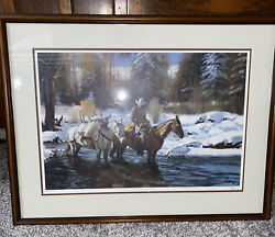 Vintage Fred Fellows Signed Print. Matted And Framed. The First Snowfall