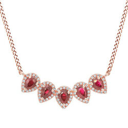 Ruby And Diamond Solid Crown Pendant Necklace 14k Rose Gold
