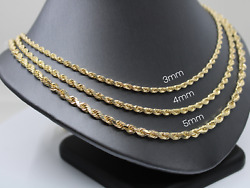 14k Gold Solid Heavy Rope Chain Necklace, Thick Diamond-cut Rope Style Chain