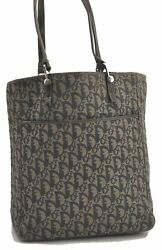 Authentic Christian Dior Trotter Tote Bag Canvas Leather Blue C0868 $288.00