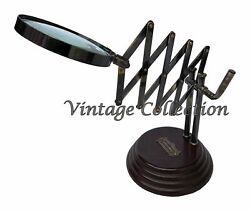 Vintage Antique Maritime Brass Chainner Magnifying Glass Nautical Table Decor