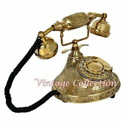 Antique Brass Vintage French Victorian Style Rotary Telephone Collectibles Decor