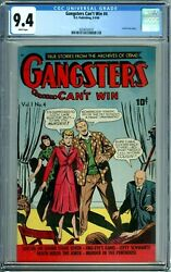 Gangsters Can't Win 4 1948 Cgc 9.4 Pre-code Crime Acid In Face Highest Graded