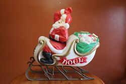 Vintage Empire Lighted Blow Mold 38 X 36 Santa In Sleigh Good Used Condition