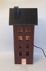 New Primitive Tall Wooden Saltbox House W Clip Light Burgundy