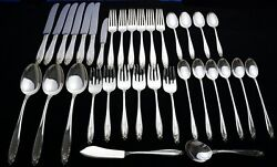 34 Pcs International Sterling Silver Flatware Prelude 1182 Grams With Monograms