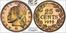Superb Gem Liberia 25c 1970 Pcgs Pr66 Beautiful Toned Very Low Mintage Quarter