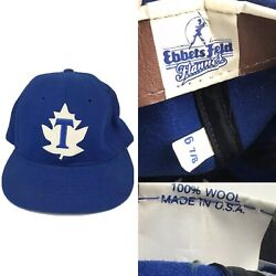 Rare Vtg 60s Toronto Maple Leafs Ebbets Field Flannels Fitted Hat Cap 6 7/8 Usa