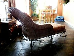 Mid Century Modern Vintage Antique Wicker And Iron Chaise Lounge