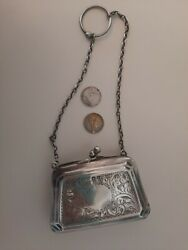 Antique Silver Henry Clifford Davis 1900s Coin Purse With 2 Pennies Inside