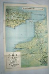 1928 Shell Oil Imperial Airways London To Paris Route Map British Airways