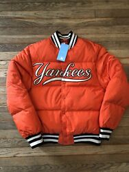 Nwt Guccinew York Bomber Puffer Jacket With Yankees Patch Down Packed Orange