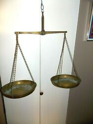 Antique 18th Century Brass Large 18'' Hanging Scales With Hall Marks