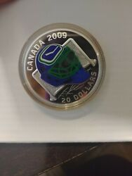 2009 Limited Edition 20 Sterling Silver Coloured Coin Vamncouver Canucks Goalie