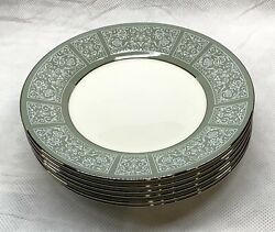 Lot Of 6 Wedgwood Kenilworth Bread And Butter Plate Green White Vintage Rare Htf