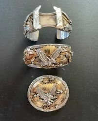 Vintage Allen Chee Navajo Sterling Silver And Vermeil Eagle And Feather Design, 3 Pc