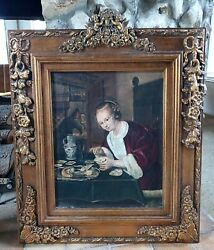 Antique Old Master Oil Painting Girl Eating Oysters After Dutch Artist Jan Steen