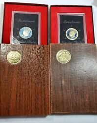 1972-s And 1974-s 2 1 Eisenhower Ike Brown Box Silver Dollar Uncirculated Proof