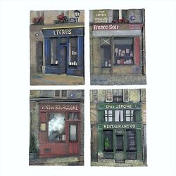 Chiu Tak Hak French Paris Store Fronts Set Of 4 Resin Art Wall Plaques Read