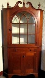 Antique Pa Pine Two Part Country Corner Cupboard With An Arched Glass Door