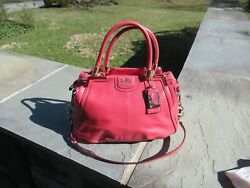 Nwot Coach Madison Pinnacle Leather Lilly Coral Rolled Handle Satchel-658