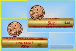 1 Cents Roll - 1980 87 Total 2 Rolls