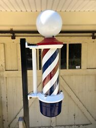 Antique Barber Pole Works Vintage With Custom Made Stand
