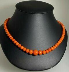 Fine And Rare Antique Mediterranean Natural Orangey Red Coral And 18k Gold Necklace