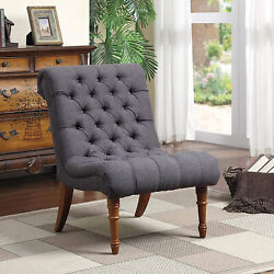 Tufted Accent Chair Without Arms Charcoal Grey Oatmeal And Light Brown