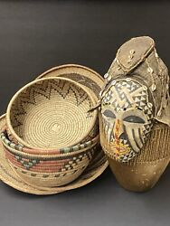 See All Picture Dan Ceremonial Spirit World Mask, Drum And Baskets/bowls Used