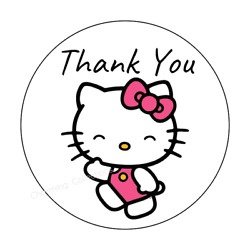 24ct Hello Kitty Stickers Labels Envelope Seals Thank You 1.625quot; High Gloss