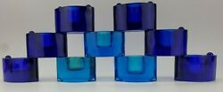 ❤✋vintage Cobalt Blue/turquoise Art Glass Stacking/stackable Candle Holders Rare