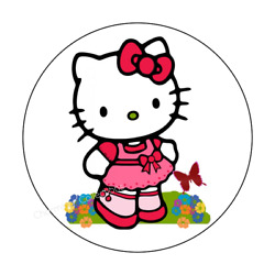 24ct Hello Kitty Stickers Labels Envelope Seals Spring 1.625quot; High Gloss