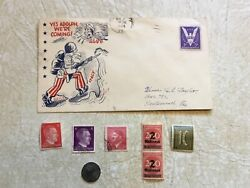 Ww2 Usa Patriotic Cover Yes Adolph We're Coming Coin German1943 Stamp Hitler Unc