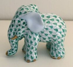 Herend Spring Green Fishnet Elephant With Gold Accents - Euc