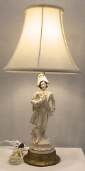 Vintage Porcelain French Courtier Figurine Hand Painted Lamp With Silk Shade
