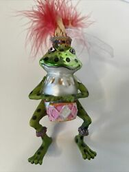 Green Frog Christmas Ornament Feathers Drum Spots Tree