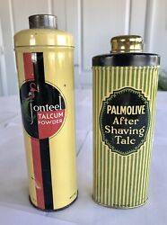 Art Deco Vintage Jonteel And Palmolive Talcum Powder Tins