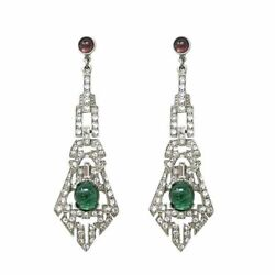 Art Deco Style Cabochon And Cz 925 Sterling Silver Statement Dangle Earrings Women