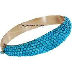Natural Rosecut Diamond Turquoise 925 Sterling Silver Bangle Jewelry
