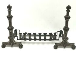 Vintage Cast And Wrought Iron Fire Dogs Andirons [6967]