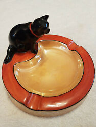 Antique Noritake Black Cat Ashtray Made In Japan Handpainted Collectible