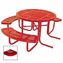 46 Ada Round Table 3-seat Perforated 80w X 63d Red