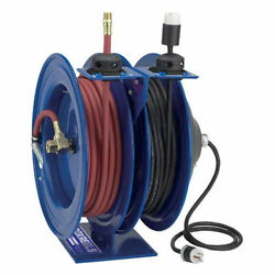 Dual Purpose Electric/air Spring Rewind Reel 50and039 X 3/8 I.d. Hose Fluorescent