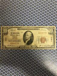 1929 10 National Currency Troy New York Low Serial Number