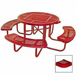 46 Round Table Perforated 80w X 80d Coated Steel Red